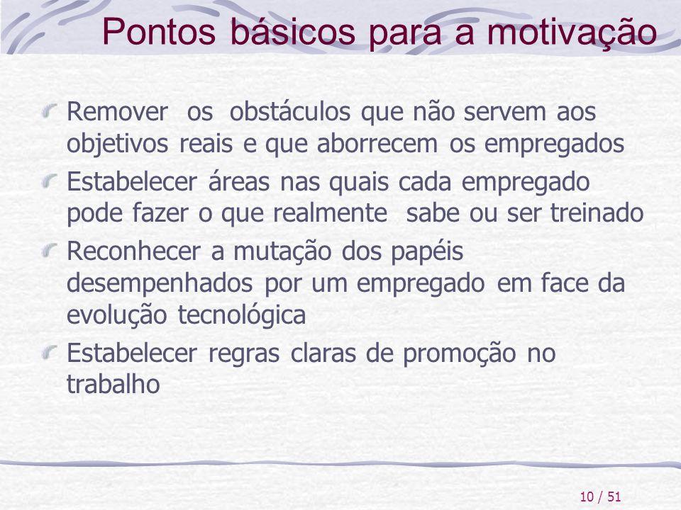 10 / 51 Pontos básicos para a motivação Remover os obstáculos que não servem aos objetivos reais e que aborrecem os empregados Estabelecer áreas nas q