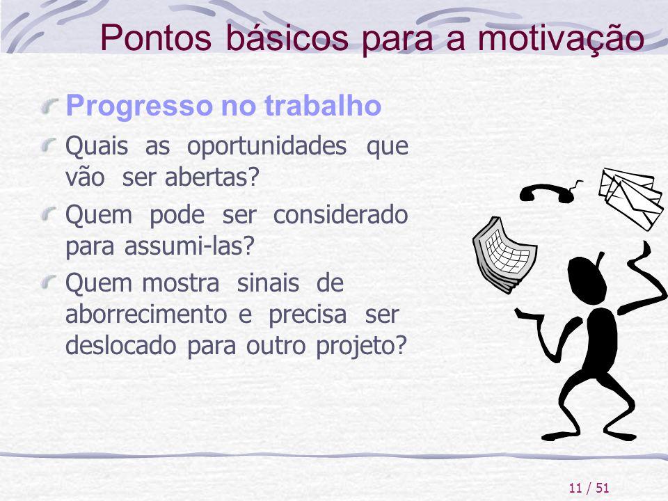 11 / 51 Pontos básicos para a motivação Progresso no trabalho Quais as oportunidades que vão ser abertas? Quem pode ser considerado para assumi-las? Q
