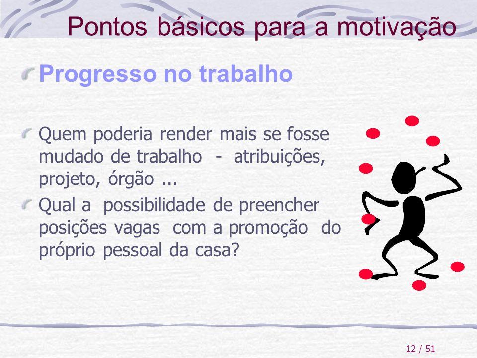 12 / 51 Pontos básicos para a motivação Progresso no trabalho Quem poderia render mais se fosse mudado de trabalho - atribuições, projeto, órgão... Qu