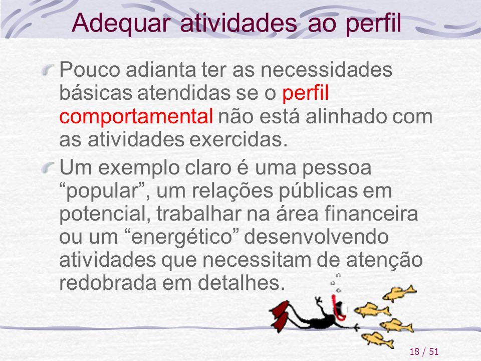 18 / 51 Adequar atividades ao perfil Pouco adianta ter as necessidades básicas atendidas se o perfil comportamental não está alinhado com as atividade