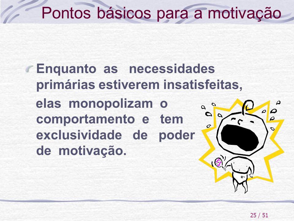 25 / 51 Pontos básicos para a motivação Enquanto as necessidades primárias estiverem insatisfeitas, elas monopolizam o comportamento e tem exclusivida