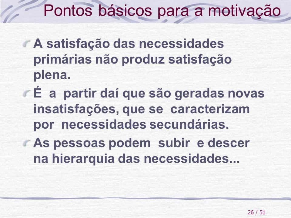 26 / 51 Pontos básicos para a motivação A satisfação das necessidades primárias não produz satisfação plena. É a partir daí que são geradas novas insa