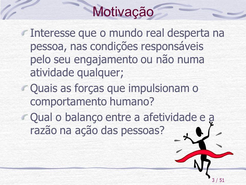 3 / 51 Motivação Interesse que o mundo real desperta na pessoa, nas condições responsáveis pelo seu engajamento ou não numa atividade qualquer; Quais
