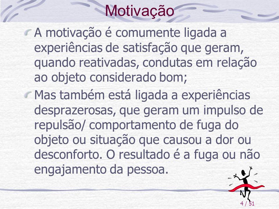4 / 51 Motivação A motivação é comumente ligada a experiências de satisfação que geram, quando reativadas, condutas em relação ao objeto considerado b