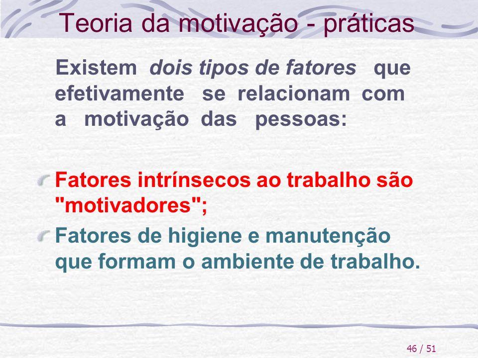 46 / 51 Teoria da motivação - práticas Existem dois tipos de fatores que efetivamente se relacionam com a motivação das pessoas: Fatores intrínsecos a