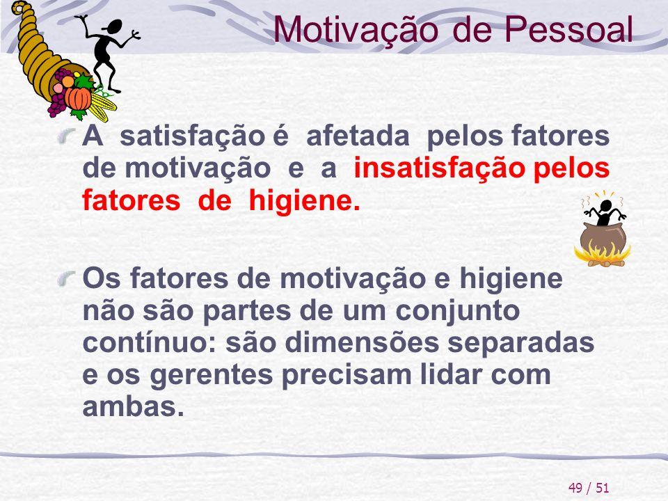 49 / 51 Motivação de Pessoal A satisfação é afetada pelos fatores de motivação e a insatisfação pelos fatores de higiene. Os fatores de motivação e hi