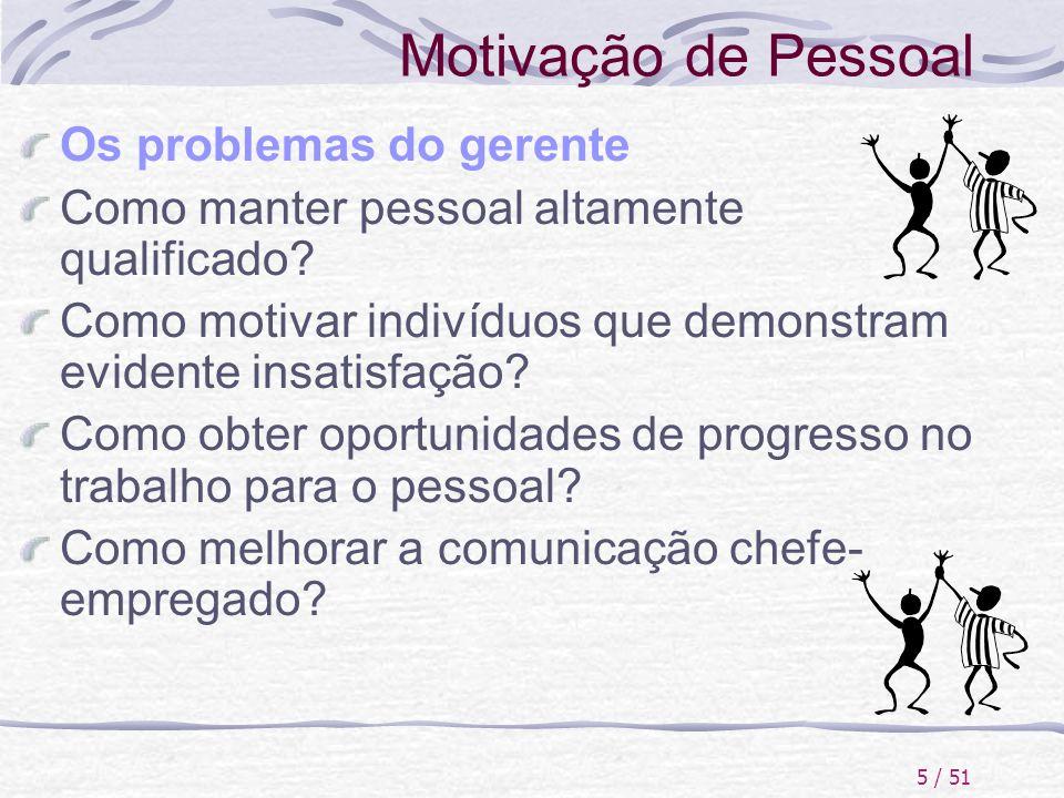 5 / 51 Motivação de Pessoal Os problemas do gerente Como manter pessoal altamente qualificado? Como motivar indivíduos que demonstram evidente insatis