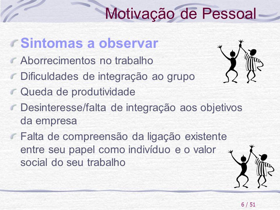 6 / 51 Motivação de Pessoal Sintomas a observar Aborrecimentos no trabalho Dificuldades de integração ao grupo Queda de produtividade Desinteresse/fal