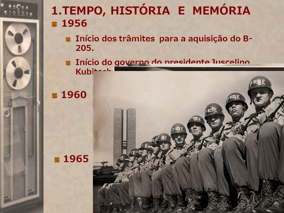 1956 Início dos trâmites para a aquisição do B- 205. Início do governo do presidente Juscelino Kubitschek. 1960 1.TEMPO, HISTÓRIA E MEMÓRIA 1965