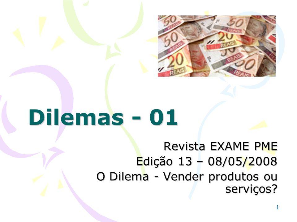 1 Dilemas - 01 Revista EXAME PME Edição 13 – 08/05/2008 O Dilema - Vender produtos ou serviços?