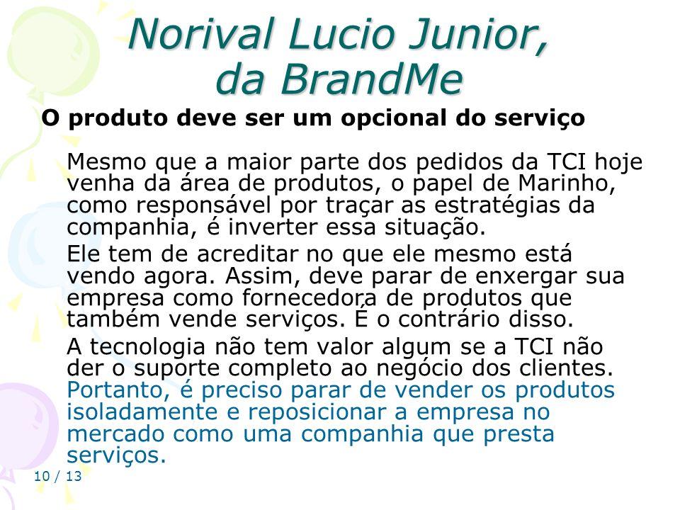 10 / 13 Norival Lucio Junior, da BrandMe O produto deve ser um opcional do serviço Mesmo que a maior parte dos pedidos da TCI hoje venha da área de pr