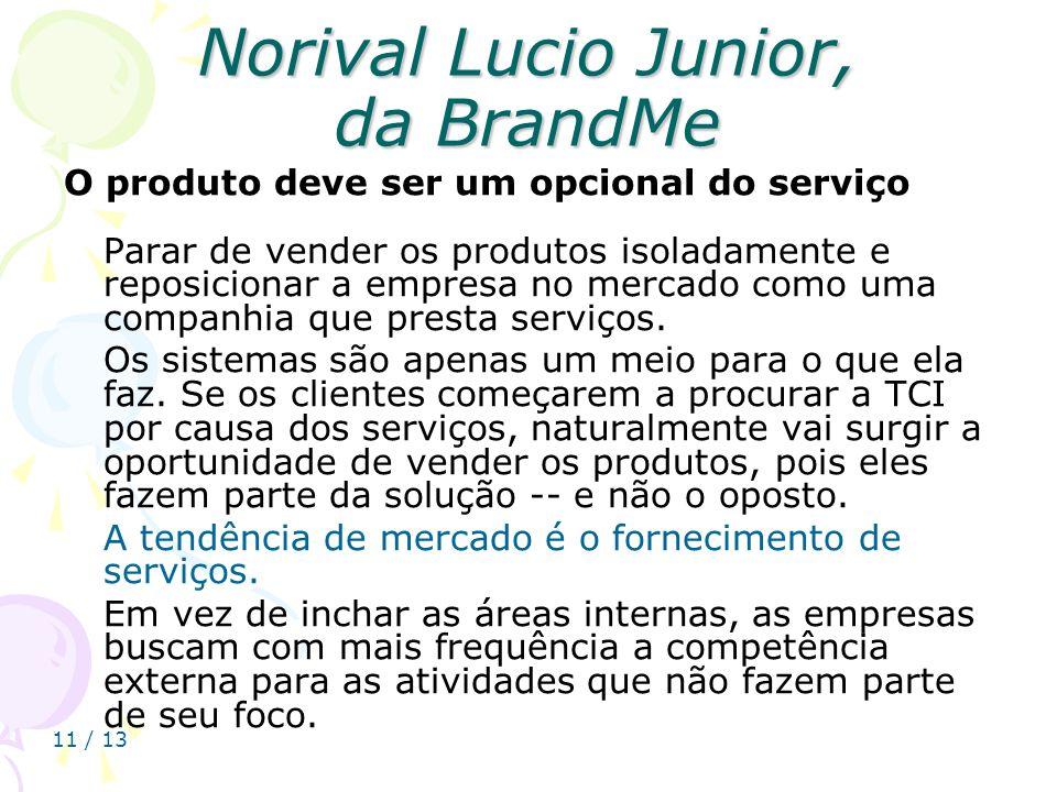 11 / 13 Norival Lucio Junior, da BrandMe O produto deve ser um opcional do serviço Parar de vender os produtos isoladamente e reposicionar a empresa n