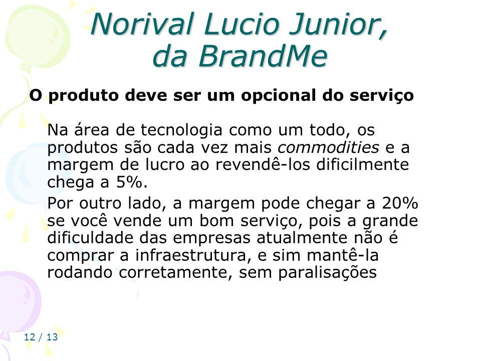 12 / 13 Norival Lucio Junior, da BrandMe O produto deve ser um opcional do serviço Na área de tecnologia como um todo, os produtos são cada vez mais c