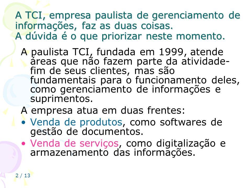 2 / 13 A TCI, empresa paulista de gerenciamento de informações, faz as duas coisas. A dúvida é o que priorizar neste momento. A paulista TCI, fundada