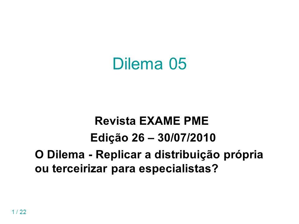 1 / 22 Dilema 05 Revista EXAME PME Edição 26 – 30/07/2010 O Dilema - Replicar a distribuição própria ou terceirizar para especialistas?