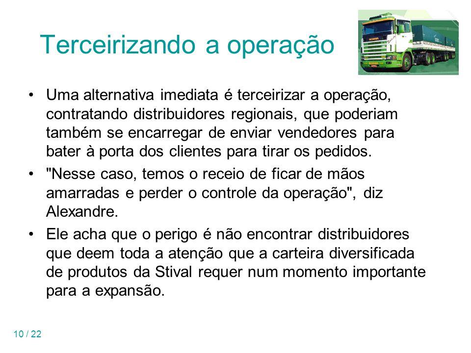 10 / 22 Terceirizando a operação Uma alternativa imediata é terceirizar a operação, contratando distribuidores regionais, que poderiam também se encar
