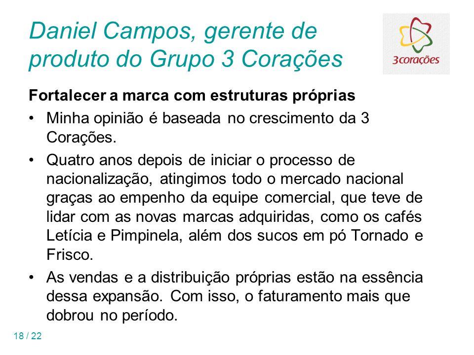 18 / 22 Daniel Campos, gerente de produto do Grupo 3 Corações Fortalecer a marca com estruturas próprias Minha opinião é baseada no crescimento da 3 Corações.