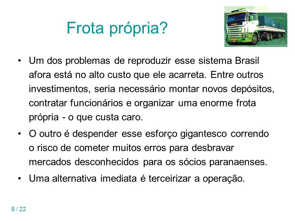 9 / 22 Frota própria? Um dos problemas de reproduzir esse sistema Brasil afora está no alto custo que ele acarreta. Entre outros investimentos, seria