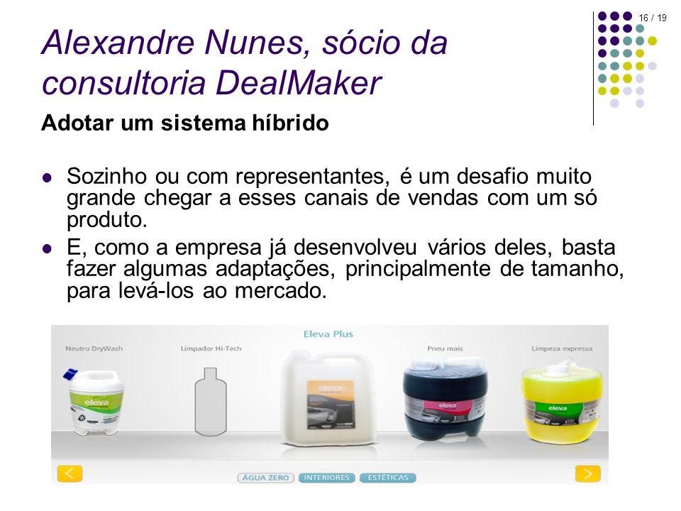 16 / 19 Alexandre Nunes, sócio da consultoria DealMaker Adotar um sistema híbrido Sozinho ou com representantes, é um desafio muito grande chegar a esses canais de vendas com um só produto.