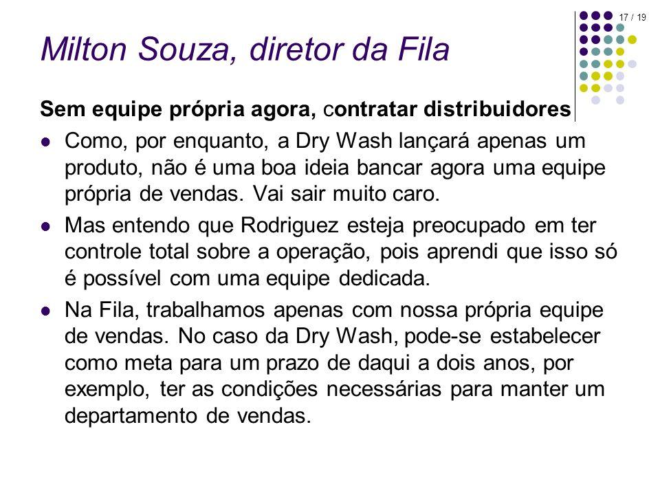 17 / 19 Milton Souza, diretor da Fila Sem equipe própria agora, contratar distribuidores Como, por enquanto, a Dry Wash lançará apenas um produto, não