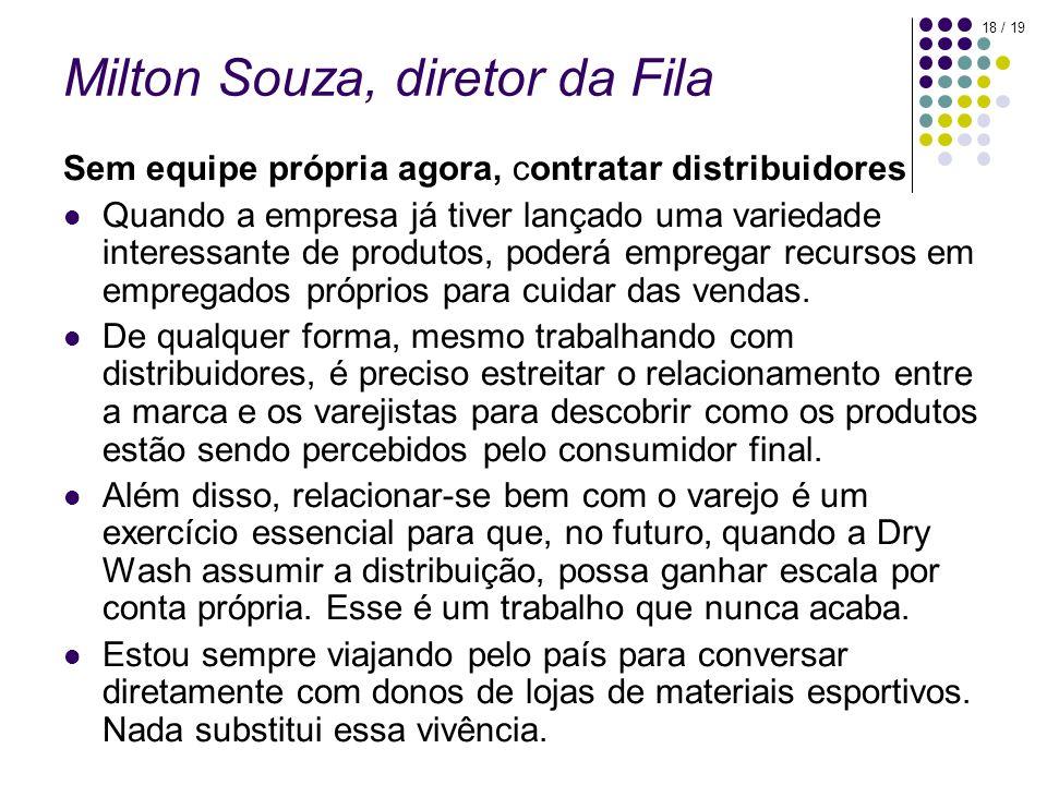 18 / 19 Milton Souza, diretor da Fila Sem equipe própria agora, contratar distribuidores Quando a empresa já tiver lançado uma variedade interessante
