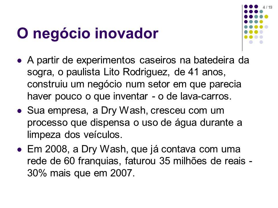 4 / 19 O negócio inovador A partir de experimentos caseiros na batedeira da sogra, o paulista Lito Rodriguez, de 41 anos, construiu um negócio num setor em que parecia haver pouco o que inventar - o de lava-carros.