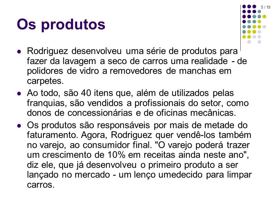 5 / 19 Os produtos Rodriguez desenvolveu uma série de produtos para fazer da lavagem a seco de carros uma realidade - de polidores de vidro a removedores de manchas em carpetes.