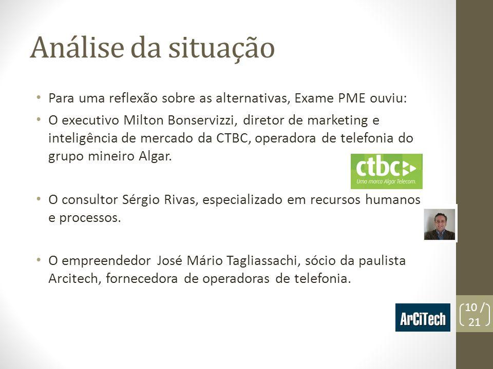 Análise da situação Para uma reflexão sobre as alternativas, Exame PME ouviu: O executivo Milton Bonservizzi, diretor de marketing e inteligência de m