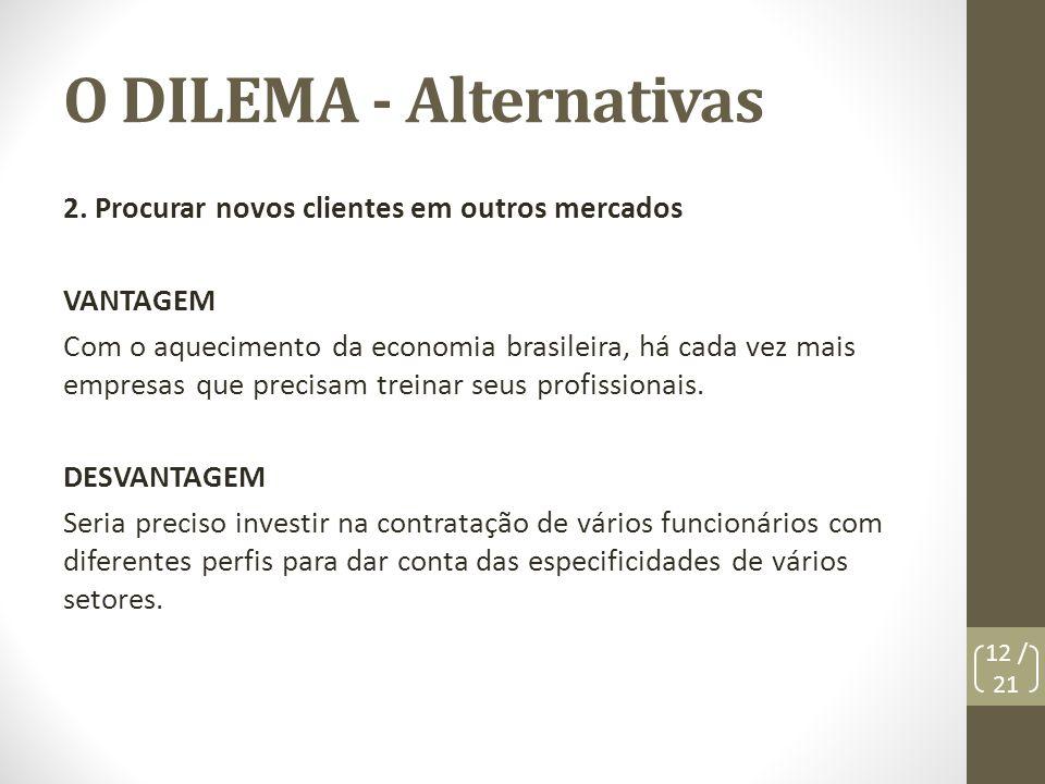 O DILEMA - Alternativas 2. Procurar novos clientes em outros mercados VANTAGEM Com o aquecimento da economia brasileira, há cada vez mais empresas que