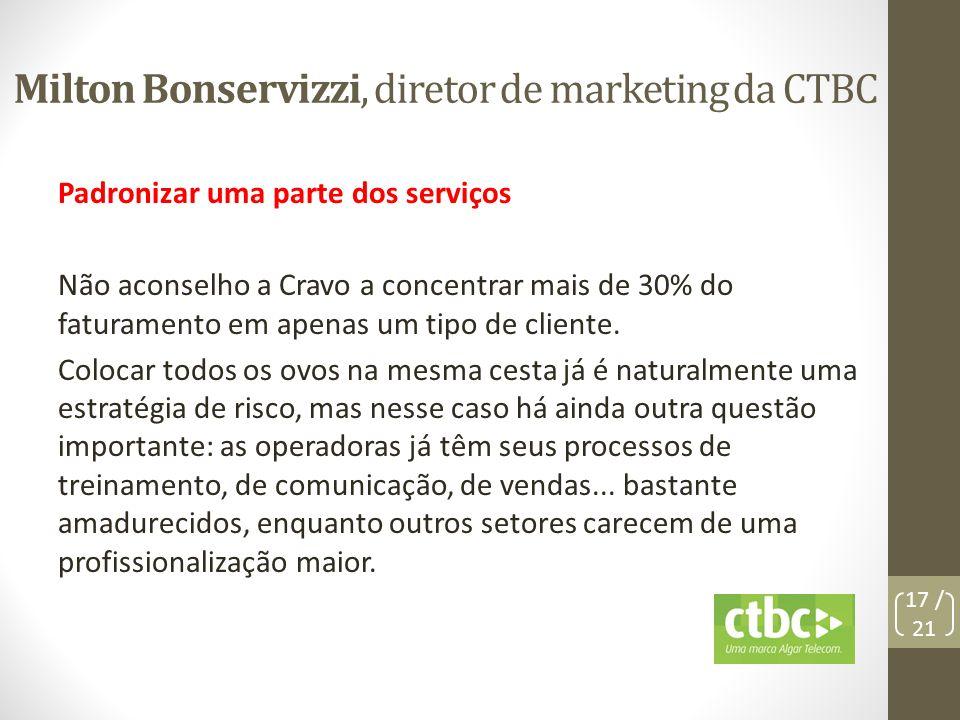 Milton Bonservizzi, diretor de marketing da CTBC Padronizar uma parte dos serviços Não aconselho a Cravo a concentrar mais de 30% do faturamento em ap