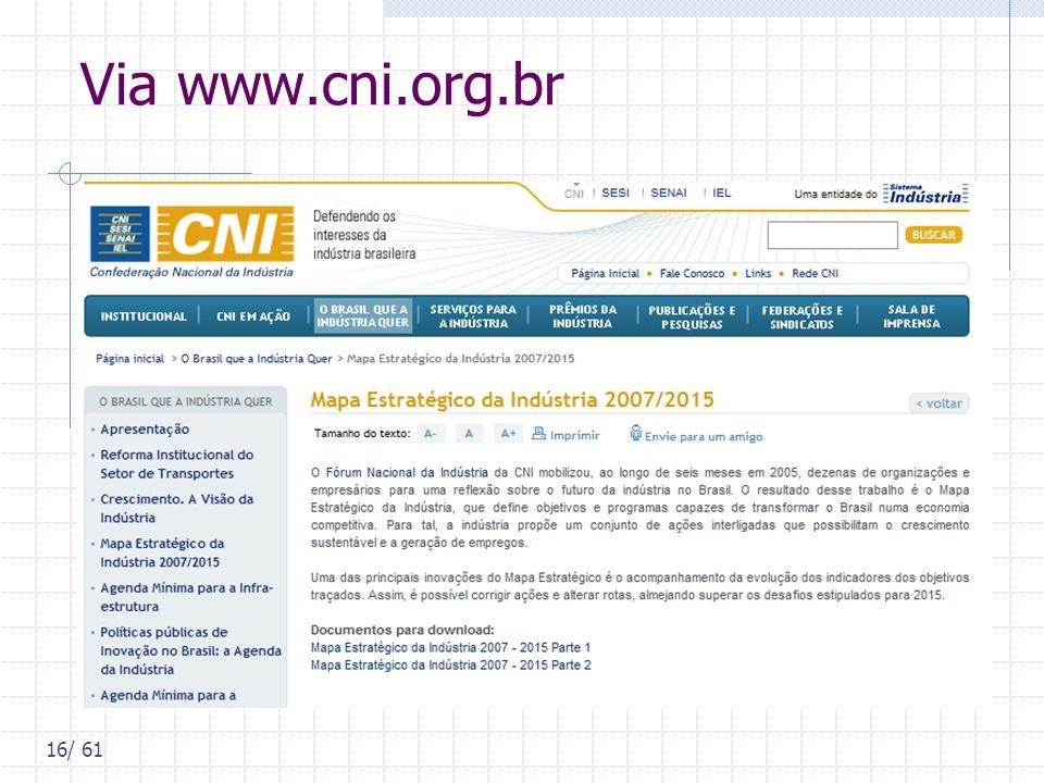 16/ 61 Via www.cni.org.br