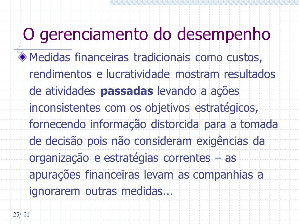 25/ 61 O gerenciamento do desempenho Medidas financeiras tradicionais como custos, rendimentos e lucratividade mostram resultados de atividades passad