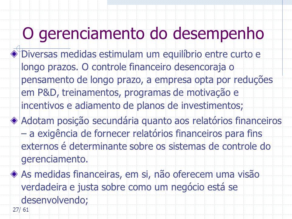 27/ 61 O gerenciamento do desempenho Diversas medidas estimulam um equilíbrio entre curto e longo prazos. O controle financeiro desencoraja o pensamen