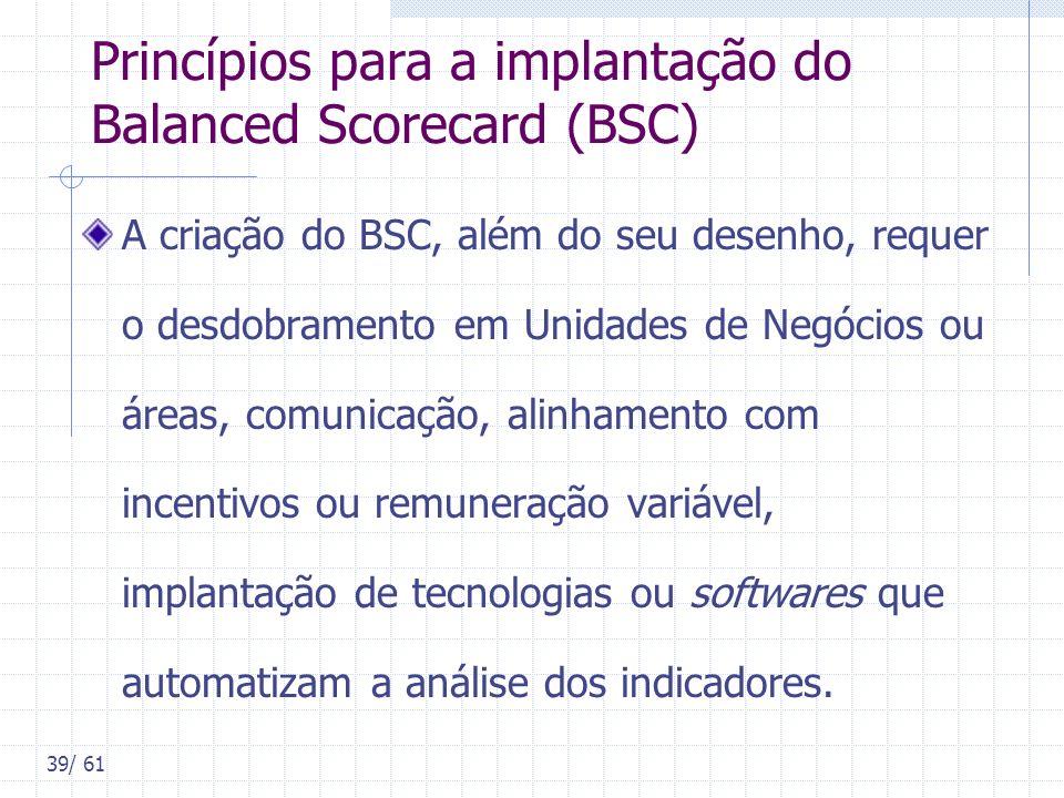 39/ 61 Princípios para a implantação do Balanced Scorecard (BSC) A criação do BSC, além do seu desenho, requer o desdobramento em Unidades de Negócios