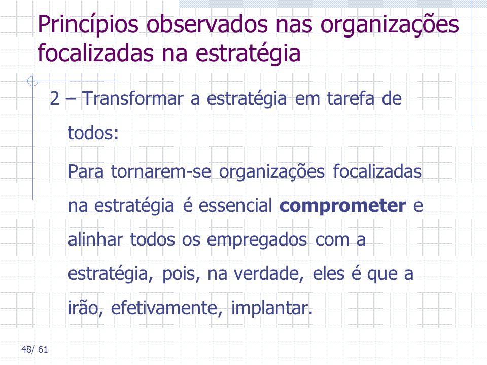 48/ 61 Princípios observados nas organizações focalizadas na estratégia 2 – Transformar a estratégia em tarefa de todos: Para tornarem-se organizações