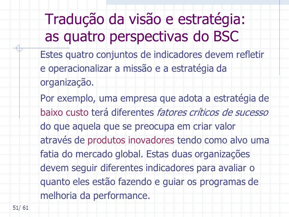 51/ 61 Tradução da visão e estratégia: as quatro perspectivas do BSC Estes quatro conjuntos de indicadores devem refletir e operacionalizar a missão e