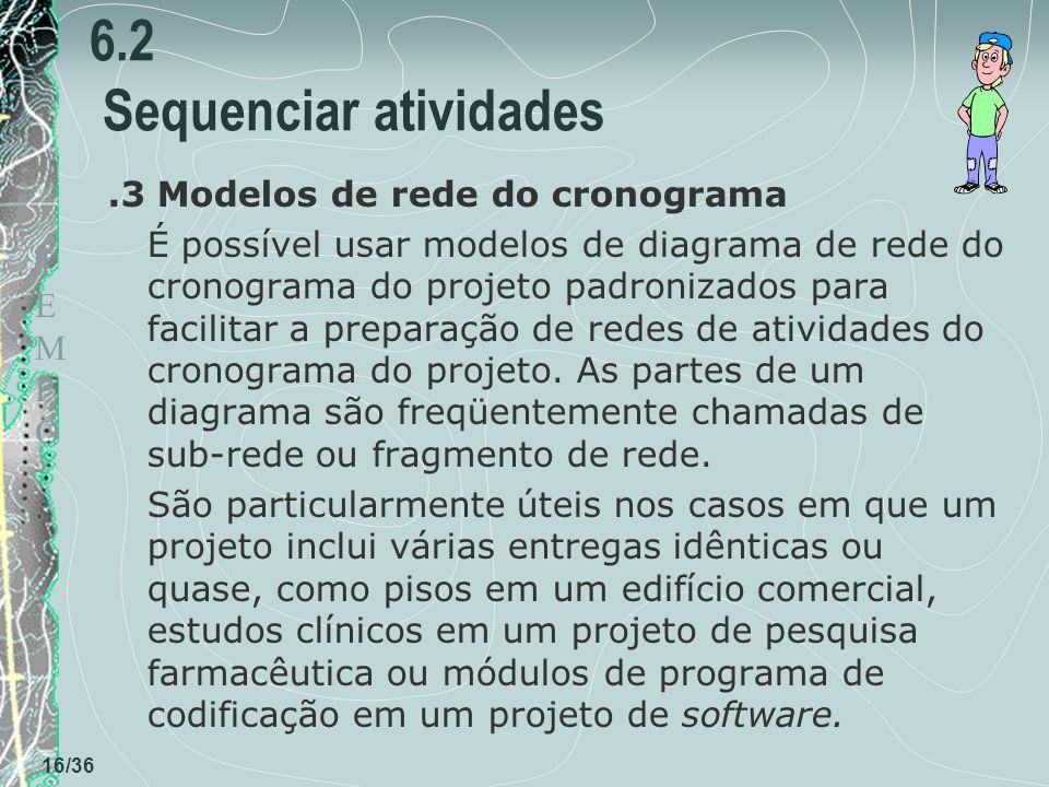 TEMPOTEMPO 16/36 6.2 Sequenciar atividades.3 Modelos de rede do cronograma É possível usar modelos de diagrama de rede do cronograma do projeto padron