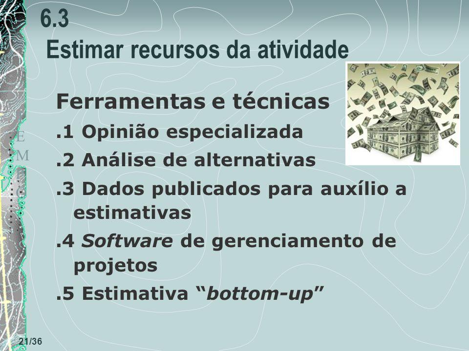 TEMPOTEMPO 21/36 6.3 Estimar recursos da atividade Ferramentas e técnicas.1 Opinião especializada.2 Análise de alternativas.3 Dados publicados para auxílio a estimativas.4 Software de gerenciamento de projetos.5 Estimativa bottom-up