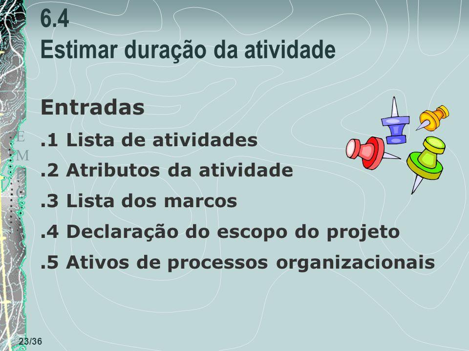 TEMPOTEMPO 23/36 6.4 Estimar duração da atividade Entradas.1 Lista de atividades.2 Atributos da atividade.3 Lista dos marcos.4 Declaração do escopo do projeto.5 Ativos de processos organizacionais