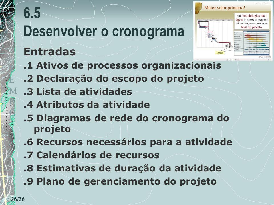 TEMPOTEMPO 26/36 6.5 Desenvolver o cronograma Entradas.1 Ativos de processos organizacionais.2 Declaração do escopo do projeto.3 Lista de atividades.4 Atributos da atividade.5 Diagramas de rede do cronograma do projeto.6 Recursos necessários para a atividade.7 Calendários de recursos.8 Estimativas de duração da atividade.9 Plano de gerenciamento do projeto