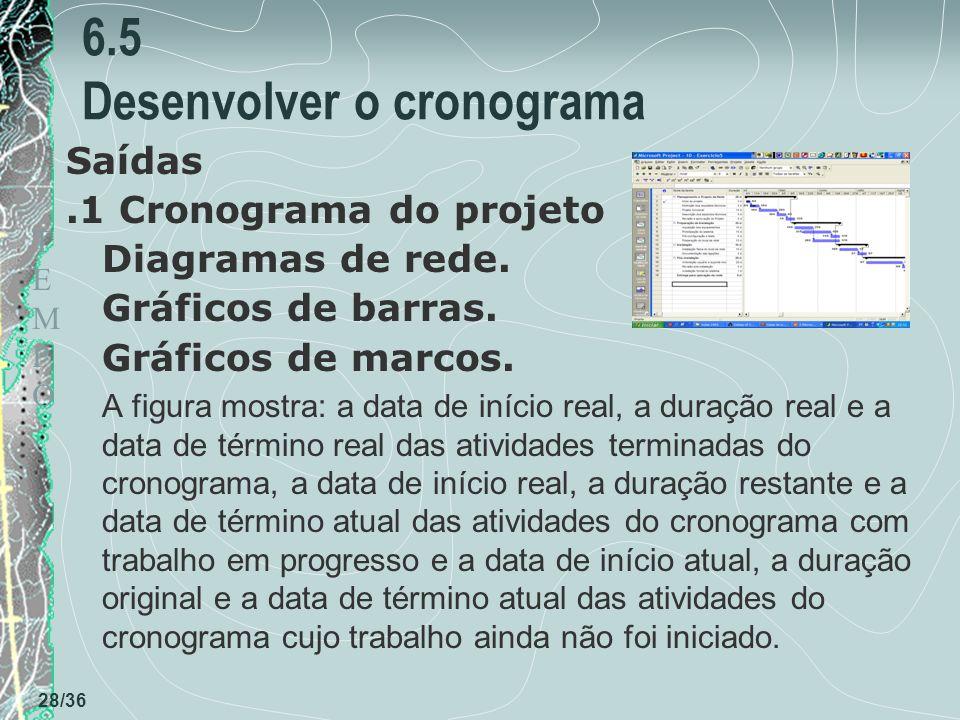 TEMPOTEMPO 28/36 6.5 Desenvolver o cronograma Saídas.1 Cronograma do projeto Diagramas de rede. Gráficos de barras. Gráficos de marcos. A figura mostr