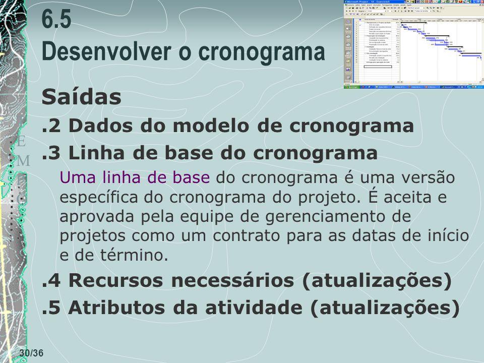 TEMPOTEMPO 30/36 6.5 Desenvolver o cronograma Saídas.2 Dados do modelo de cronograma.3 Linha de base do cronograma Uma linha de base do cronograma é uma versão específica do cronograma do projeto.