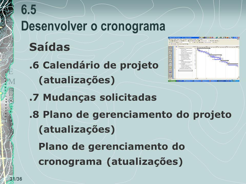 TEMPOTEMPO 31/36 6.5 Desenvolver o cronograma Saídas.6 Calendário de projeto (atualizações).7 Mudanças solicitadas.8 Plano de gerenciamento do projeto (atualizações) Plano de gerenciamento do cronograma (atualizações)