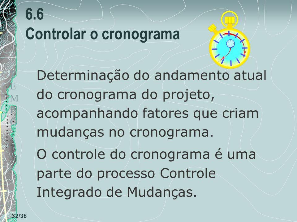 TEMPOTEMPO 32/36 6.6 Controlar o cronograma Determinação do andamento atual do cronograma do projeto, acompanhando fatores que criam mudanças no crono