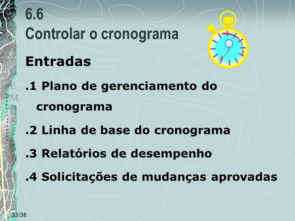 TEMPOTEMPO 33/36 6.6 Controlar o cronograma Entradas.1 Plano de gerenciamento do cronograma.2 Linha de base do cronograma.3 Relatórios de desempenho.4 Solicitações de mudanças aprovadas