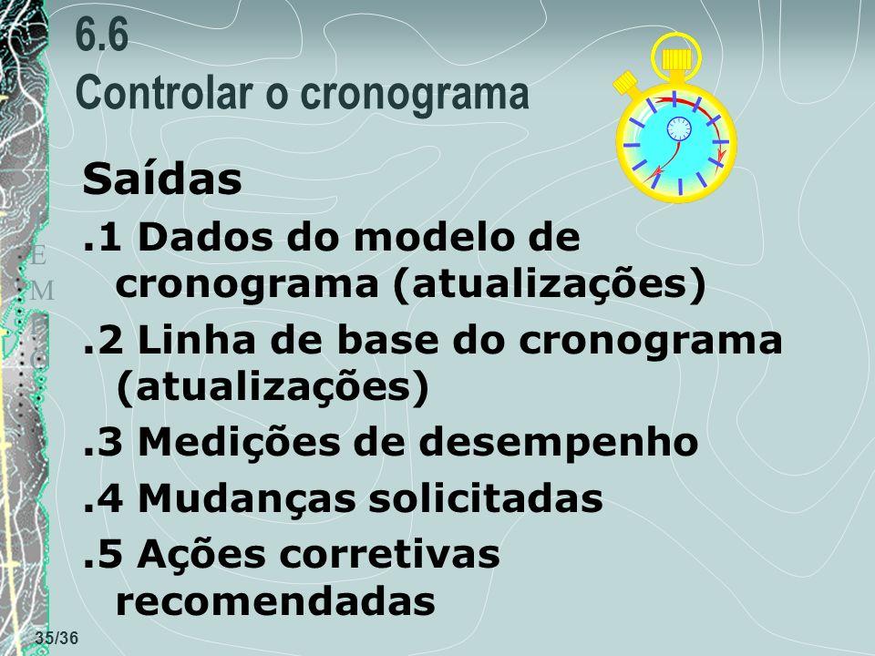 TEMPOTEMPO 35/36 6.6 Controlar o cronograma Saídas.1 Dados do modelo de cronograma (atualizações).2 Linha de base do cronograma (atualizações).3 Mediç