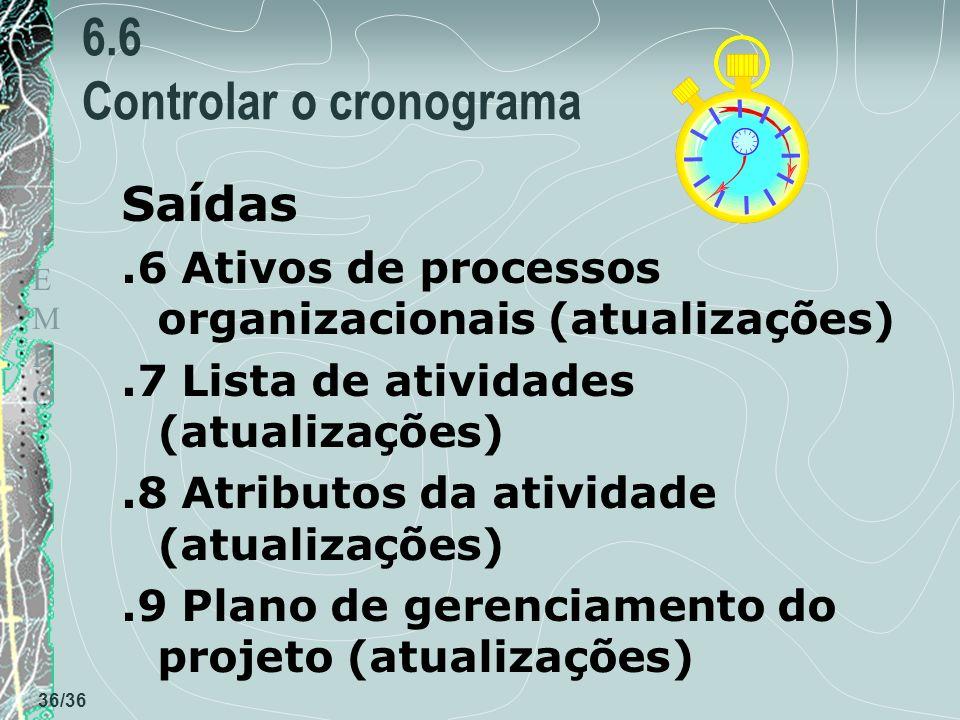 TEMPOTEMPO 36/36 6.6 Controlar o cronograma Saídas.6 Ativos de processos organizacionais (atualizações).7 Lista de atividades (atualizações).8 Atributos da atividade (atualizações).9 Plano de gerenciamento do projeto (atualizações)