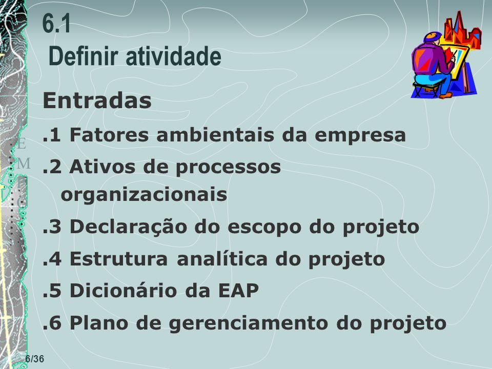 TEMPOTEMPO 6/36 6.1 Definir atividade Entradas.1 Fatores ambientais da empresa.2 Ativos de processos organizacionais.3 Declaração do escopo do projeto