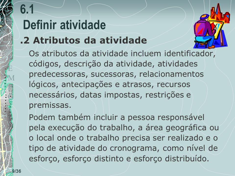 TEMPOTEMPO 9/36 6.1 Definir atividade.2 Atributos da atividade Os atributos da atividade incluem identificador, códigos, descrição da atividade, ativi