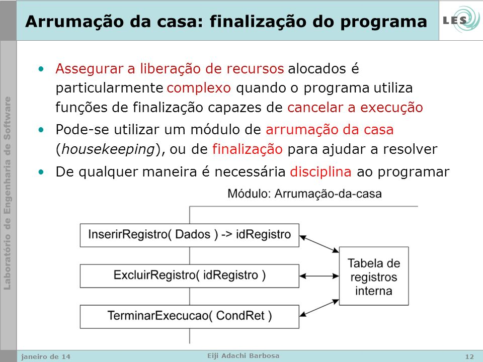 janeiro de 14 Eiji Adachi Barbosa Arrumação da casa: finalização do programa Assegurar a liberação de recursos alocados é particularmente complexo qua
